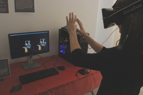Allyson Cikor tests out her virtual reality demo. Photo by Richard Amery
