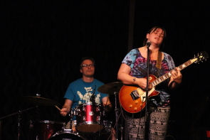 Amanda Fish and drummer Glen James hosted the Slice's open mic, Aug 9. Photo by  Richard Amery