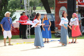 The Ecuadoran Social Club give a traditional dancing demonstration for Canada Day in Henderson Lake Park. photo by Richard Amery