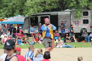 Roy Pogorzelski gives a Metis jigging demonstration for Canada Day in Henderson Lake Park. photo by Richard Amery