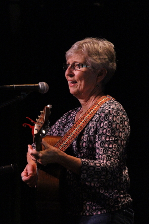 Cathy Hawley opens  for The Wardens for the Lethbridge Folk Club's season opening concert at the Lethbridge College Cave, Sept. 8. Photo by Richard Amery