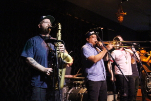 The Dirty Catfish brass Band returned to the Slice , Nov. 21. Photo by Richard Amery