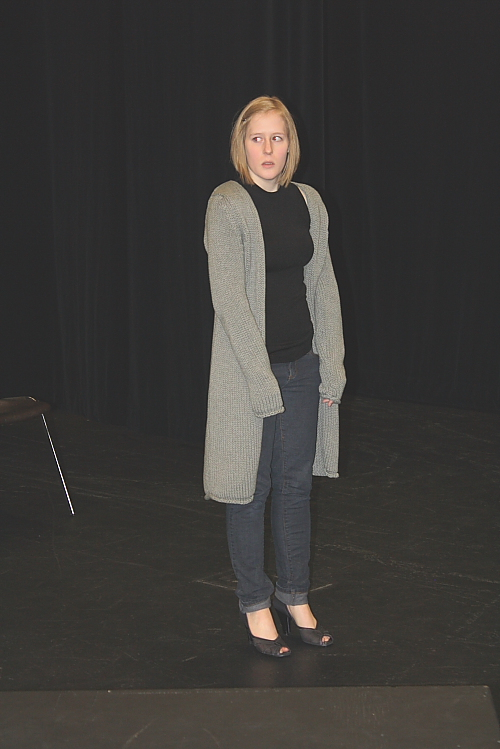 Kelly Malcolm rehearses a scene from Patience. Photo by Richard Amery