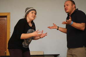 Stephanie Wickham and Aaron Tyslau rehearse a scene from Beyond a Joke, running Feb. 6-10 a the Italian Canadian Club. Photo by Richard Amery