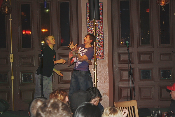 Roman Danylo and Dean Haglund entertained Henotic with  improv games. Photo by Richard Amery