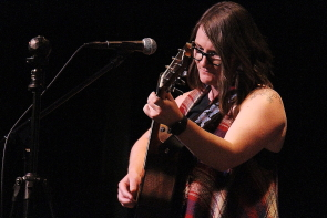 Tara Warburton won this year's South Country Fair Songwriting competition at the Slice, Sunday, May 27. Photo by Richard Amery