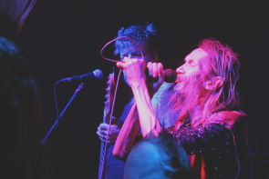 SNFU's Chi Pig playing inferno in July. Photo by Richard Amery